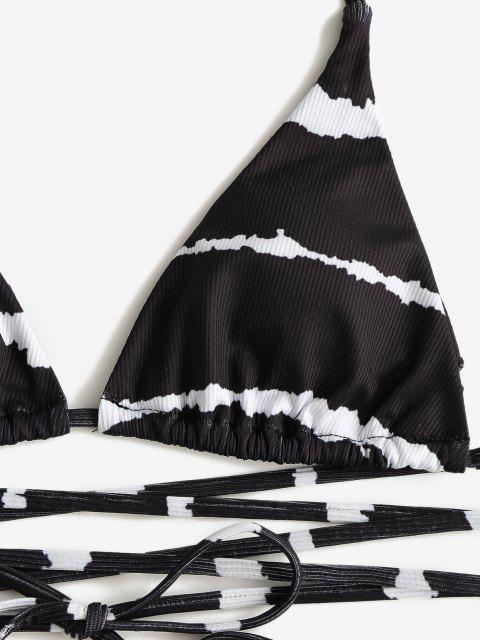 Costume da Bagno Bikini a Costine Avvolgente a Righe con Halter di ZAFUL - Nero S Mobile