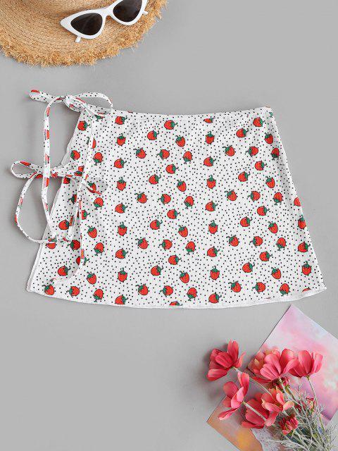 women's ZAFUL Strawberry Polka Dot Ribbed Wrap Swim Skirt - WHITE S Mobile