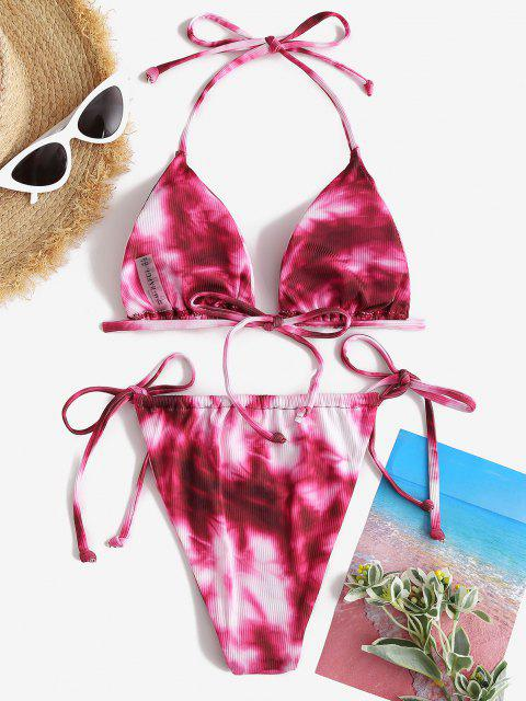 ladies ZAFUL Tie Dye Convertible String Bikini Swimwear - BASHFUL PINK M Mobile