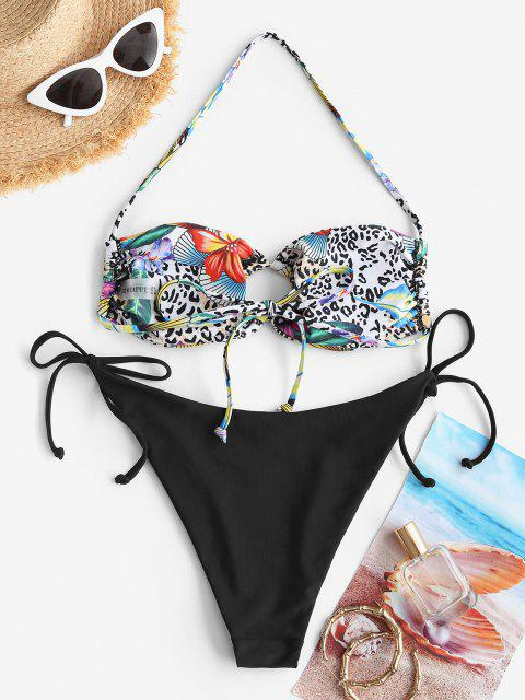 fancy ZAFUL Leopard Tropical Print O Ring String Bikini Swimwear - BLACK M Mobile