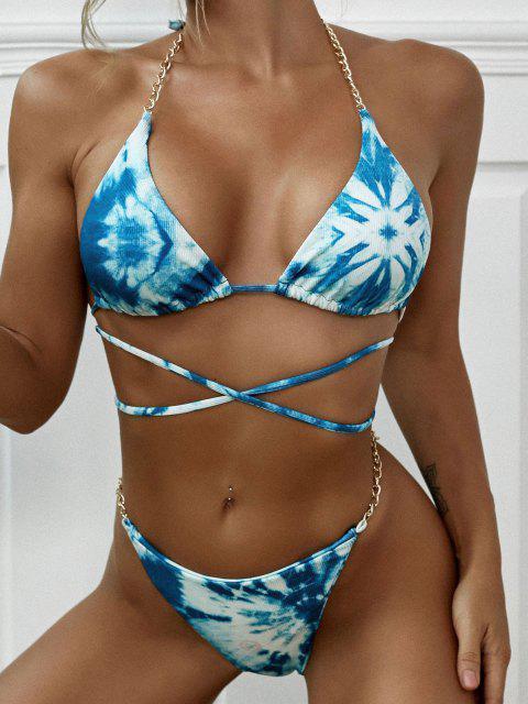 fashion ZAFUL Tie Dye Ribbed Chains Embellish String Bikini Swimwear - LIGHT GREEN S Mobile