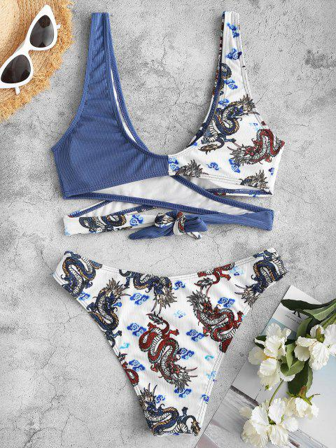 ZAFUL Bikini Acanalado con Estampado de Dragón - Azul Pizarra M Mobile