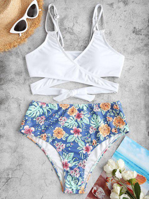 women's ZAFUL Flower Print High Waisted Wrap Bikini Swimwear - WHITE L Mobile