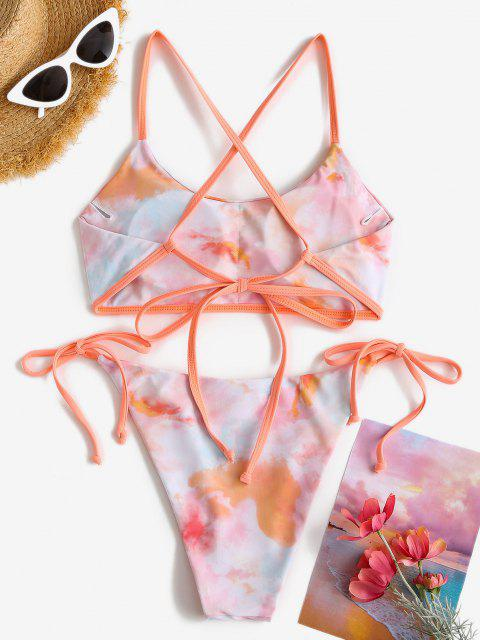 Costume da Bagno Bikini di Tie-Dye con Incrocio Sul Retro - Arancione chiaro S Mobile