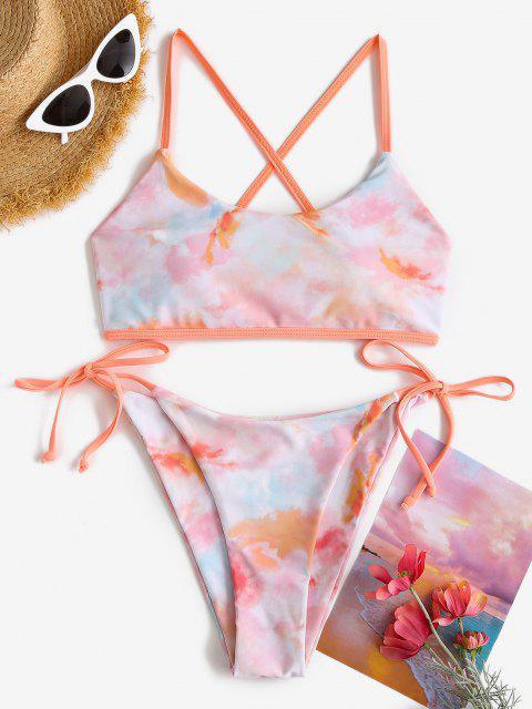 ZAFUL Maillot de Bain Bikini Teinté Croisé Au Dos - orange clair M Mobile