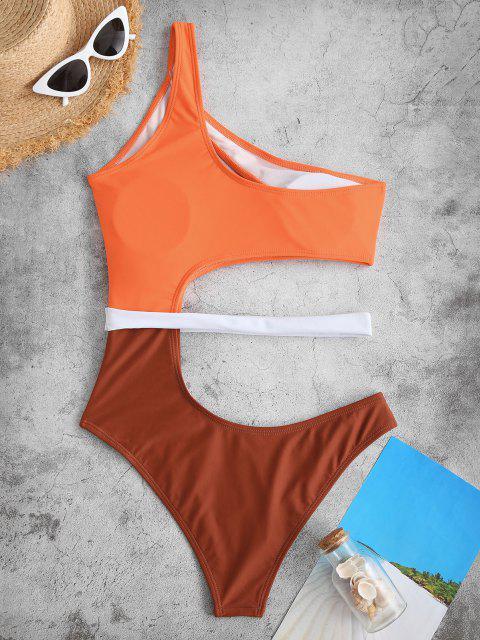 ZAFUL Einziger Schulter Farbblock Badebekleidung mit Ausschnitt - Orange S Mobile