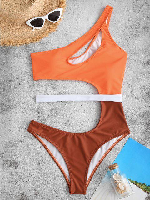 ZAFUL Cut Out One Shoulder Colorblock One-piece Swimsuit - البرتقالي S Mobile