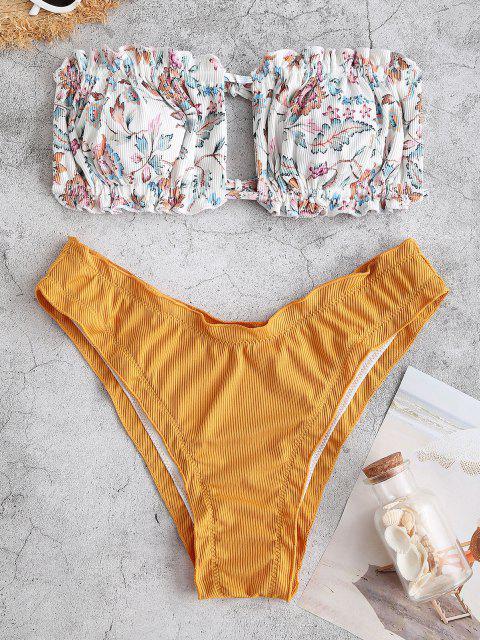 ZAFUL Costume da Bagno Bikini a Fascia Floreale a Costine con Volant - Giallo S Mobile