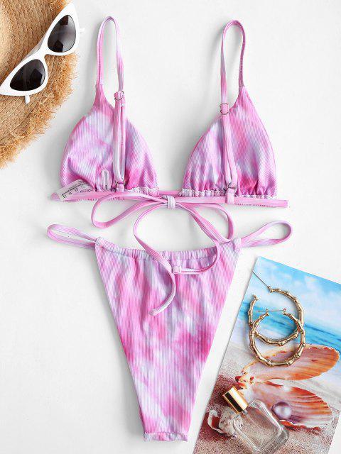 Costume da Bagno Bikini di Tie-Dye con Scollo Profondo di ZAFUL a Taglio Alto - Rosa chiaro S Mobile