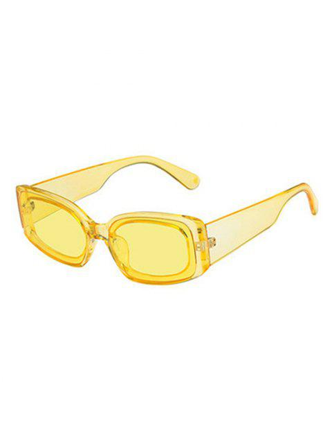 chic Rectangle Wide Temple Sunglasses - SUN YELLOW  Mobile