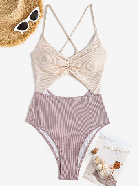 latest ZAFUL Ribbed Bicolor Ruched Cutout One-piece Swimsuit - LIGHT PURPLE L Mobile