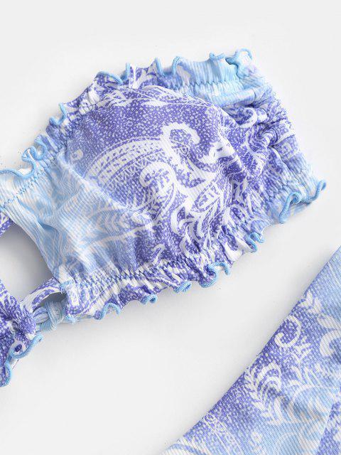 ZAFUL Costume da Bagno Bikini Boho a Costine con Increspature e Ritaglio - Azzurro S Mobile