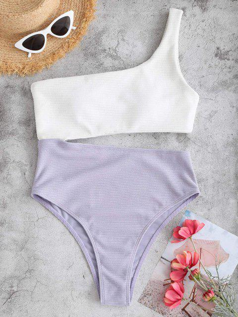fancy ZAFUL One Shoulder Bicolor Textured Rib Cutout One-piece Swimsuit - LIGHT PURPLE S Mobile