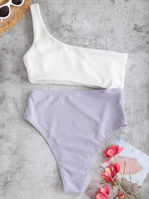 ZAFUL Maillot de Bain Texturé Côtelé Découpé Une Epaule à Une-Pièce - Violet clair XL Mobile