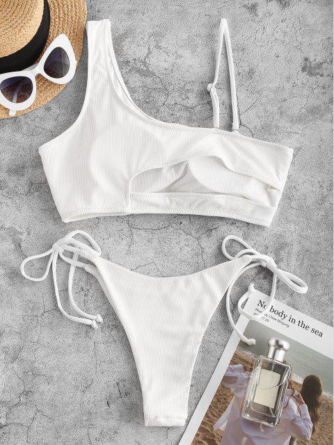 Costume da Bagno Bikini Annodato con Scollo Asimmetrico di ZAFUL - Bianca S Mobile