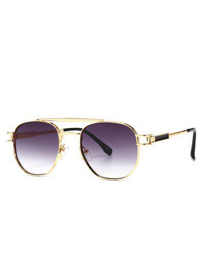Retro Crossbar Metal Sunglasses - Gray
