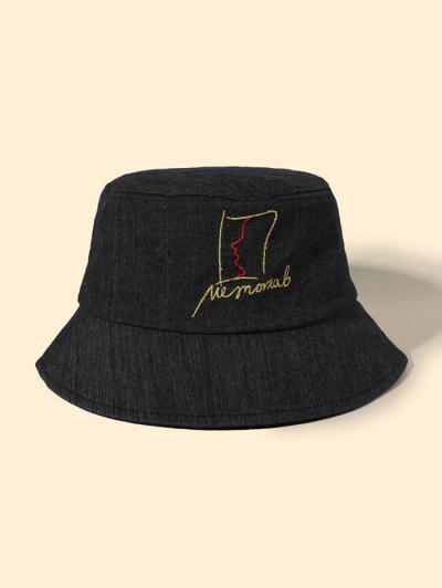 抽象フェイスパターンバケット帽子 - 黒