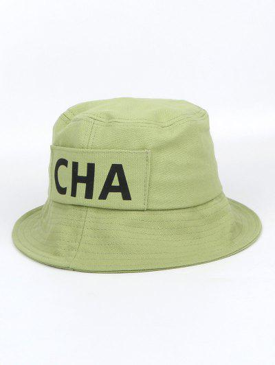 Letters Printed Canvas Bucket Hat - Avocado Green