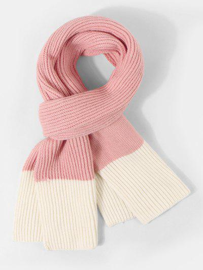 Two Tone Knitted Long Scarf - Flamingo Pink
