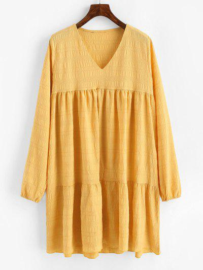 V Neck Casual Long Sleeve Tunic Dress - Deep Yellow L