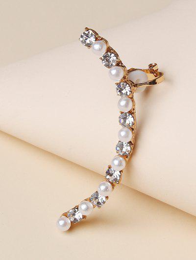 Faux Pearl Rhinestone Cuff Earring - Golden
