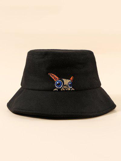 Puppy Embroidery Pattern Bucket Hat - Black