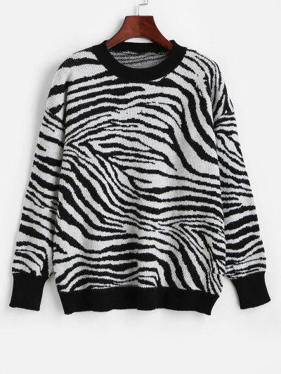Crew Neck Drop Shoulder Zebra Sweater - Multi-h