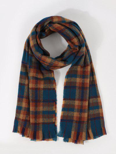 Colorblock Plaid Print Long Scarf - Multi-e