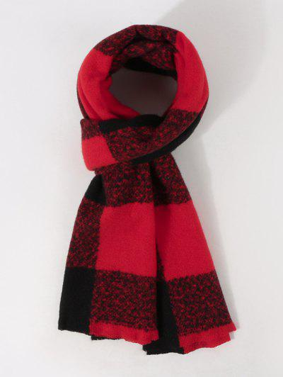 Checked Print Winter Long Scarf - Red