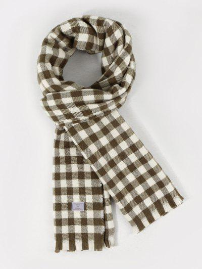 Long Checkered Pattern Fringe Scarf - Camouflage Green