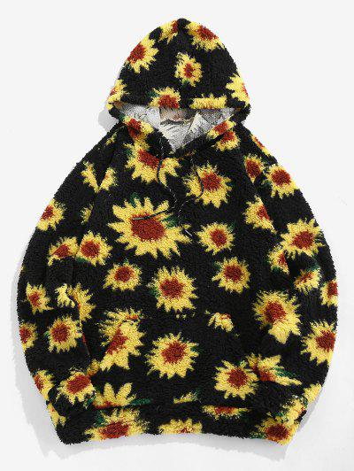 ZAFUL Sunflower Pattern Kangaroo Pocket Teddy Hoodie - Black L