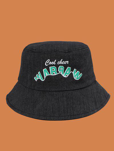プリントレターコットンバケット帽子 - 黒