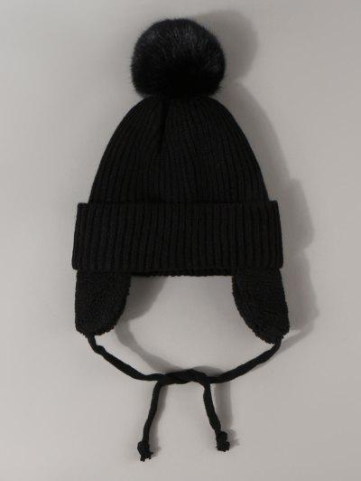 Inner Plush Knitted Ear Warmer Hat - Black