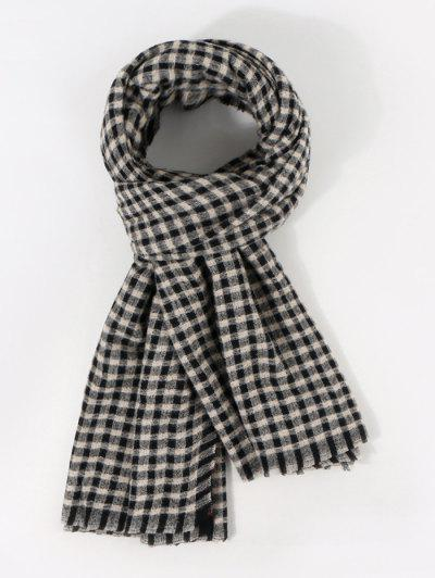 Long Checkered Pattern Winter Scarf - Night