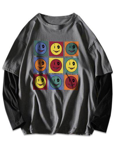 Naughty Lächelnd Gesichtsdruck Künstliche Twinset T-Shirt - Dunkelgrau L
