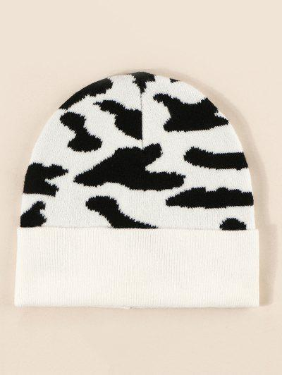 Cow Print Knitted Hat - Milk White