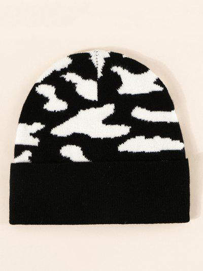 Cow Print Knitted Beanie - Night