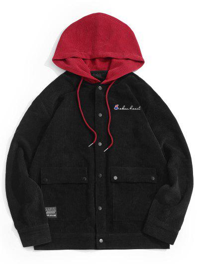 Hooded Letter Embroidered Double Pockets Jacket - Black Xl