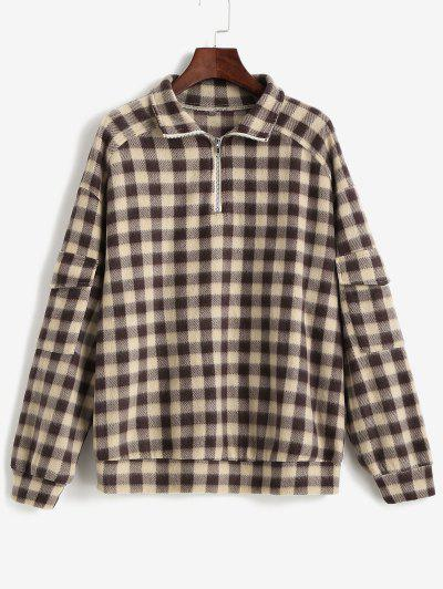 ZAFUL Plaid Quarter Zip Pockets Flannel Sweatshirt - Deep Coffee M