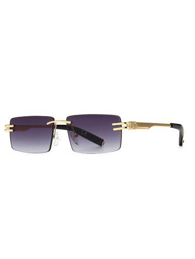 Narrow Rectangle Ombre Rimless Sunglasses - Black