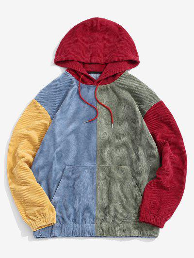 Corduroy Color Blocking Patchwork Hoodie - Red S
