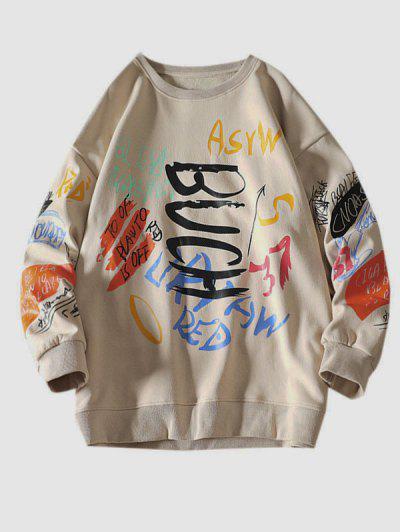 Letter Paint Graphic Crew Neck Sweatshirt - Khaki 2xl