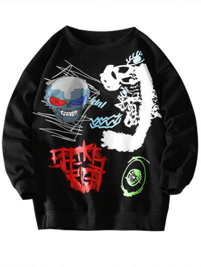 Skull Eye Letter Pattern Graphic Sweatshirt - Black 2xl