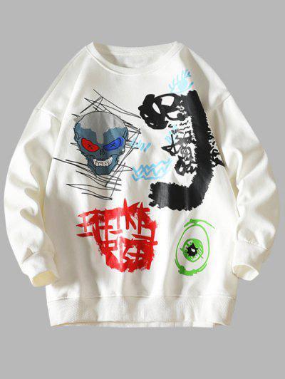 Skull Eye Letter Pattern Graphic Sweatshirt - White Xl