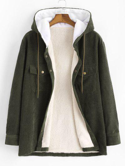 Hooded Double Pockets Fleece Corduroy Jacket - Army Green L