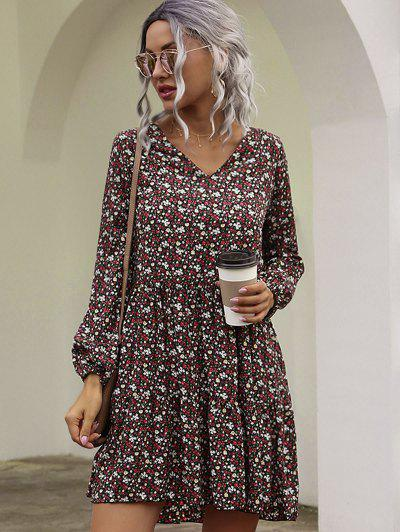 Long Sleeves Ditsy Floral Smock Dress - Deep Red L