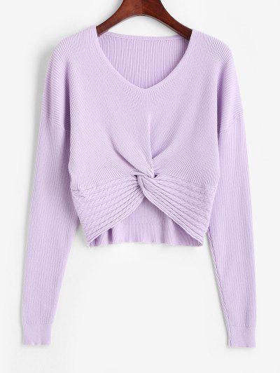 V Neck Twisted Hem Cable Knit Knitwear - Purple Flower