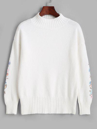 High Neck Floral Embroidered Drop Shoulder Sweater - Milk White