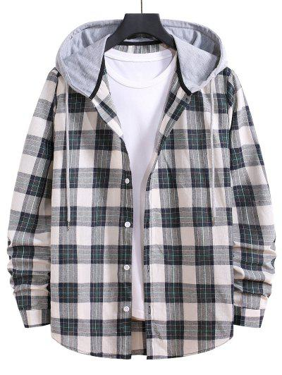 Drawstring Hooded Plaid Print Button Up Shirt - Grayish Turquoise L