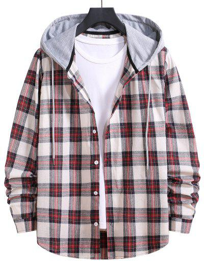 Drawstring Hooded Plaid Print Button Up Shirt - Chestnut Red M